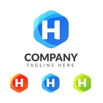 Marchio della lettera h con forma geometrica colorata