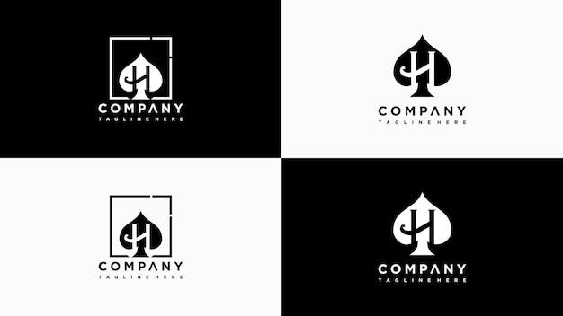 Vettore di progettazione del logo del poker della lettera h vettore premium