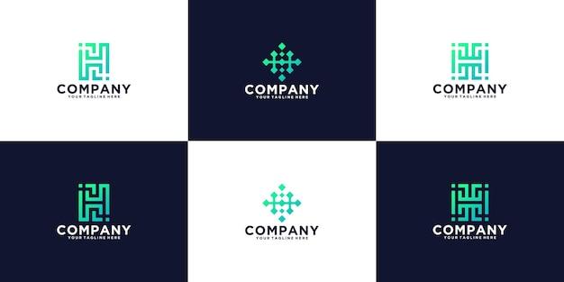Collezione logo monogramma tecnologia lettera h
