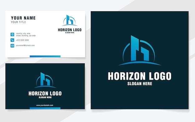 Lettera h con modello logo orizzonte in stile moderno