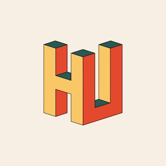 Marchio della lettera hu con effetto isometrico 3d
