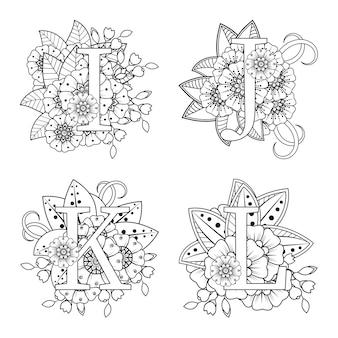 Lettera ijkl con fiore mehndi nella pagina del libro da colorare in stile etnico orientale