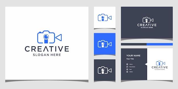 Lettera i per il design del logo della fotografia con modello di biglietto da visita