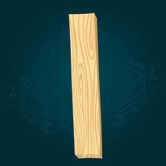 Lettera i - carattere vettoriale stilizzato realizzato con assi di legno martellate con chiodi di ferro.