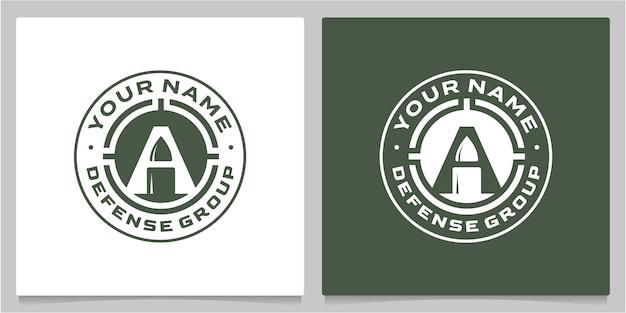 Icona lettera a con proiettile negativo spacevintage retro logo designs