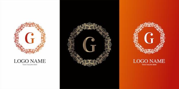 Alfabeto iniziale lettera con modello di logo cornice floreale ornamento di lusso