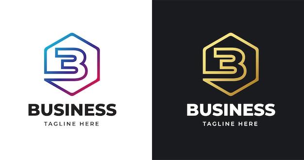 Lettera iniziale b illustrazione del logo con linee quadrate design