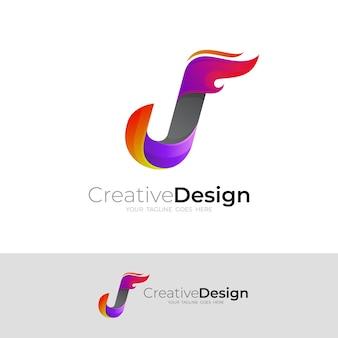 Logo della lettera j e combinazione di design del fuoco