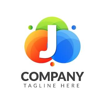 Marchio della lettera j con sfondo colorato cerchio per industria creativa, web, affari e società