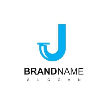 Logo del tubo della lettera j per il simbolo dell'azienda idraulica