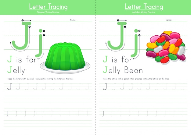 Lettera j alfabeto alimentare di tracciamento