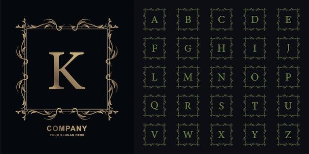 Lettera k o alfabeto iniziale di raccolta con modello di logo dorato di lusso ornamento cornice floreale.