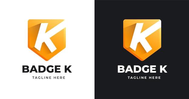 Modello di progettazione del logo della lettera k con stile a forma di badge