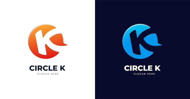 Modello di progettazione di logo di lettera k con stile a forma di cerchio
