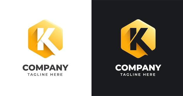 Modello di progettazione di logo di lettera k con stile di forma geometrica