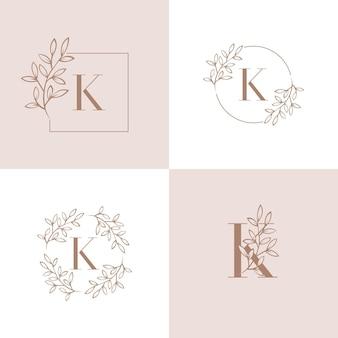 Lettera k logo design con elemento foglia di orchidea