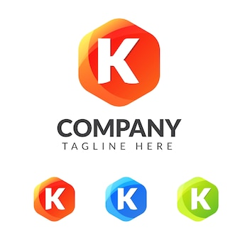Marchio della lettera k con forma geometrica colorata