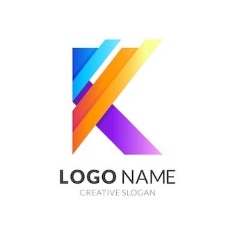 Marchio della lettera k con design quadrato colorato, stile moderno