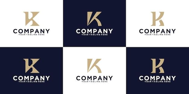 Disegno del modello di raccolta di ispirazione per il design del monogramma della lettera k