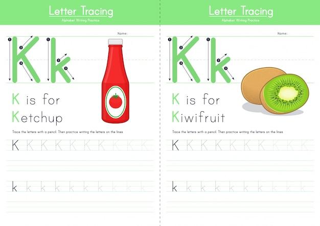 Lettera k alfabeto alimentare di tracciamento