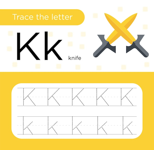 Pratica di tracciamento della lettera k.