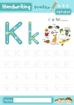 Foglio di lavoro per la pratica di tracciamento della lettera k maiuscola e minuscola
