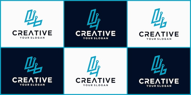 Lettera l logo tech, logo futuristico modello in colore blu, logo aziendale e tecnologico, lettera l tech