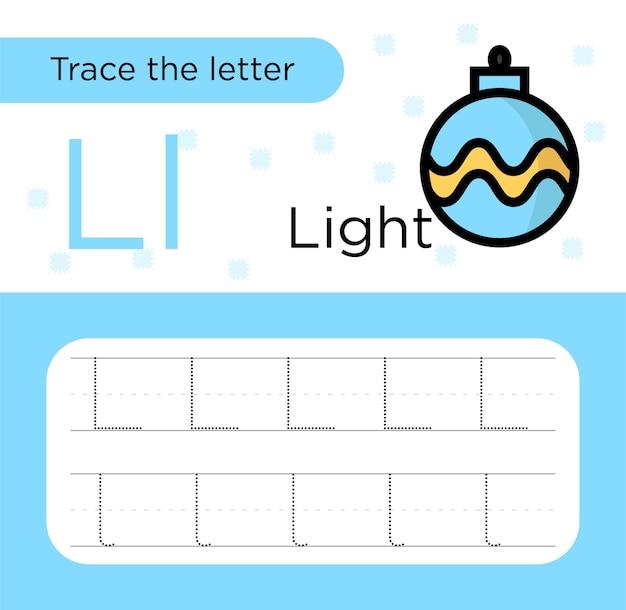 Tracciamento della lettera l per bambini. carta pratica per tracciare lettere