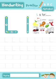 Foglio di lavoro per la pratica di tracciamento della lettera l maiuscola e minuscola