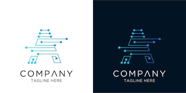 Lettera a logo design tecnologia aziendale aziendale in stile contorno lineare
