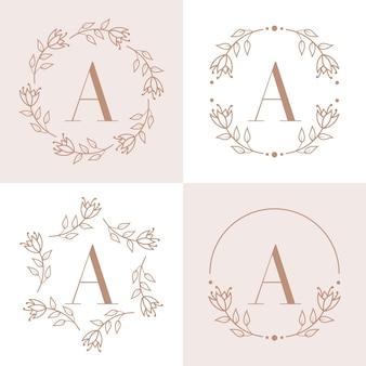 Lettera a logo design con elemento foglia di orchidea