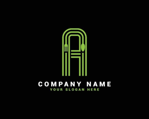 Un logo con una lettera, un logo con una lettera di cibo, un logo con una lettera a cucchiaio