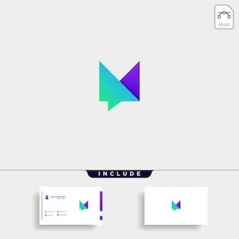 Lettera m chat logo template vector design message icon