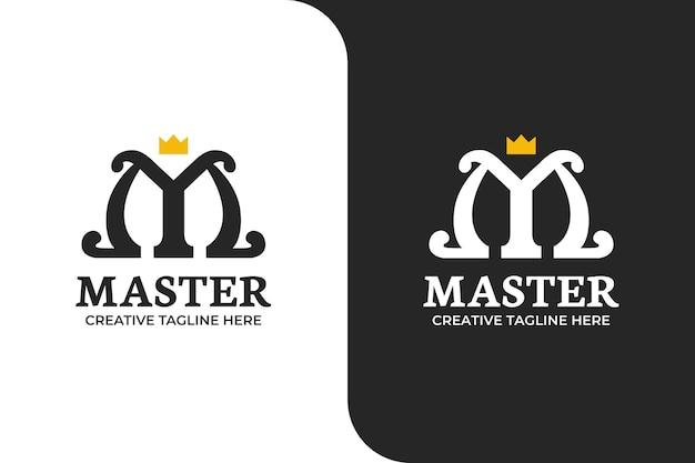 Lettera m e corona logo illustration