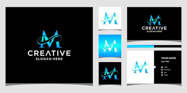 Lettera m elegante design del logo con design del biglietto da visita