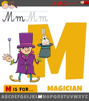 Lettera m dall'alfabeto con carattere mago dei cartoni animati
