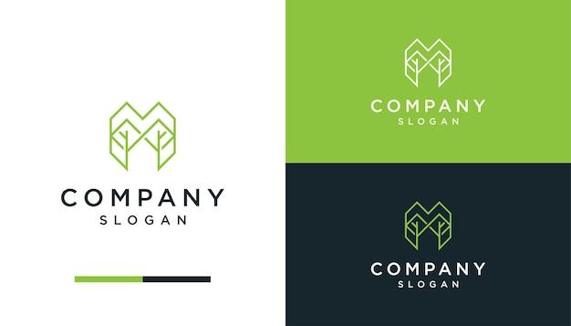 Lettera m line art con logo naturale foglia design leaf