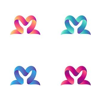 Combinazione di logo lettera m con cuore o forma d'amore
