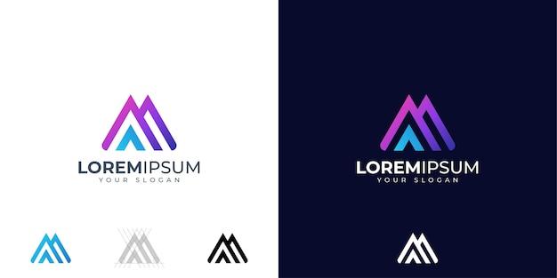 Lettera m e a logo design ispirazione