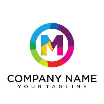 Modello di progettazione del logo della lettera m. segno creativo foderato colorato