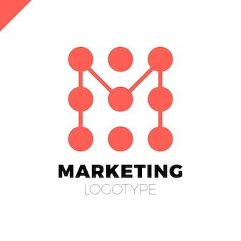 Modello di progettazione del logo lettera m. logotipo del punto di commercializzazione