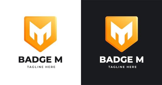 Modello di progettazione del logo della lettera m con stile a forma di badge
