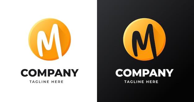Modello di progettazione del logo della lettera m con stile a forma di cerchio