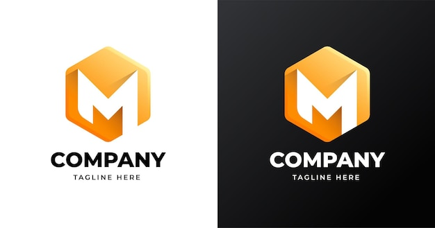 Modello di progettazione del logo della lettera m con stile di forma geometrica