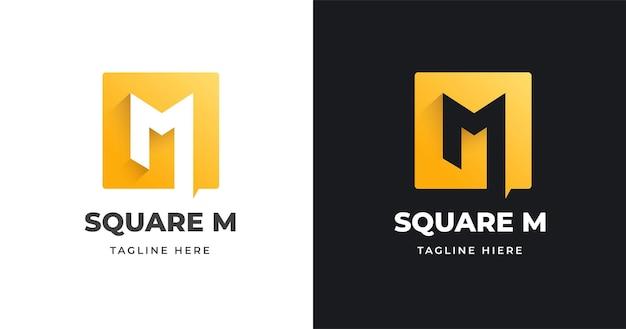 Modello di progettazione di logo di lettera m con stile di forma quadrata