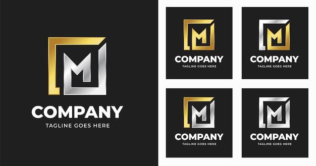 Modello di progettazione del logo della lettera m con stile di forma quadrata