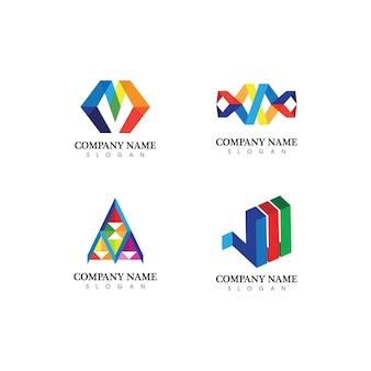 Carattere del logo della lettera m e icone vettoriali di design come loghi
