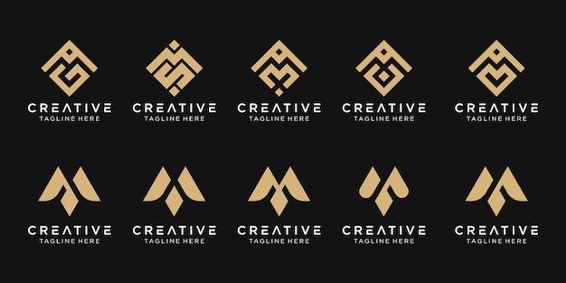 Lettera m logo icona set icone del design per il business della tecnologia pixel sport moda digitale