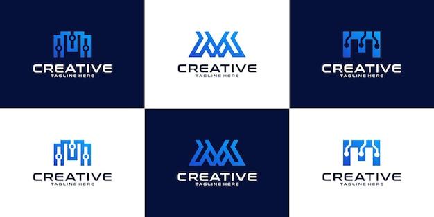 Insieme del logo della lettera m, icone di identità aziendale, raccolta del logo della lettera m astratta