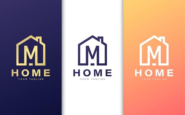 Modello di logo della lettera m. concetto di logo casa moderna Vettore Premium